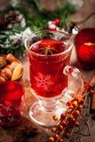 Perforazione calda del vino con gli ingredienti per il Natale Fotografia Stock Libera da Diritti
