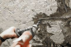 Perforazione e demolizione, martello del breake Immagini Stock