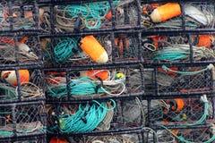 Perfore los potes de cangrejo de California de la bahía del Bodega del punto Fotografía de archivo libre de regalías