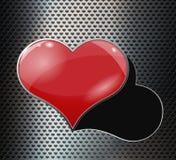 Perforerad metallbakgrund med hålet och hjärta royaltyfri illustrationer