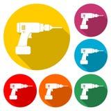Perfori l'autoadesivo, l'icona piana del trapano elettrico, icona di colore con ombra lunga Fotografia Stock Libera da Diritti