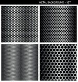 Perforiertes Metallhintergrundset Stockfotos
