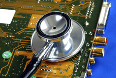 Perform diagnosis on the computer peripheral card Stock Photo