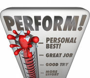 Perform Thermometer Measure Score Feedback Grade Rating Success Royalty Free Stock Photos