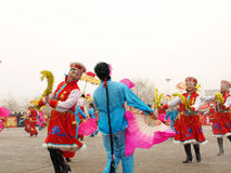 Perform traditional dance Yangge in the snow Royalty Free Stock Photography
