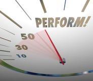 Perform Word Speedometer Take Action Achieve Speedy Success Stock Photography