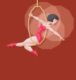 Performace aereo dell'artista del circo della ragazza del fumetto di pin-up Immagini Stock