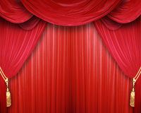Before the performance. Curtain of a classical theater Stock Images