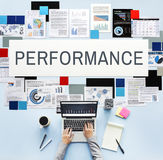 Performance Accomplishment Implementation Concept. Woman using notebook performance word graphic documents Royalty Free Stock Image