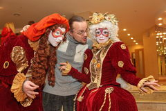 Performance of actors of the theater wandering dolls gentleman Pezho in the foyer of the theatre buff. Stock Photos