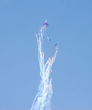 Performance of aerobatic team Russian Knights Stock Images