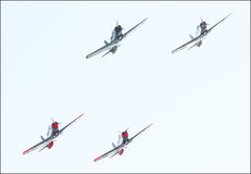 Aircraft in formation. Performance of aircraft in aerobatic flight Royalty Free Stock Photo