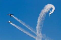Aerobatic flight. Performance of aircraft in aerobatic flight royalty free stock photo