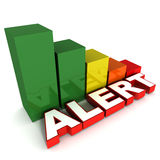 Performance alert. Falling performance alert concept, graph going down with alert word Royalty Free Stock Images