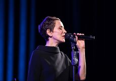 The performance of the American jazz vocalist Stacey Kent with her accompanying quartet on the Kijow.Centre stage in Krakow,. Cracow, Poland - April 26, 2018 Stock Image