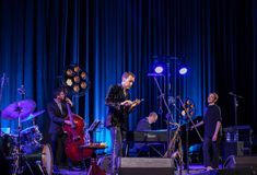 The performance of the American jazz vocalist Stacey Kent with her accompanying quartet on the Kijow.Centre stage in Krakow,. Cracow, Poland - April 26, 2018 Stock Photo
