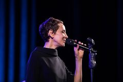 The performance of the American jazz vocalist Stacey Kent with her accompanying quartet on the Kijow.Centre stage in Krakow,. Cracow, Poland - April 26, 2018 Stock Photos