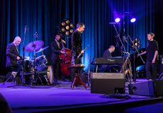The performance of the American jazz vocalist Stacey Kent with her accompanying quartet on the Kijow.Centre stage in Krakow,. Cracow, Poland - April 26, 2018 Stock Images