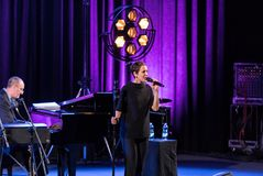 The performance of the American jazz vocalist Stacey Kent with her accompanying quartet on the Kijow.Centre stage in Krakow,. Cracow, Poland - April 26, 2018 Royalty Free Stock Photo