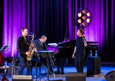 The performance of the American jazz vocalist Stacey Kent with her accompanying quartet on the Kijow.Centre stage in Krakow,. Cracow, Poland - April 26, 2018 Stock Photography