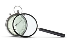 Performance analysis. Stopwatch and magnifying glass over white background, concept of performance analysis Royalty Free Stock Photos