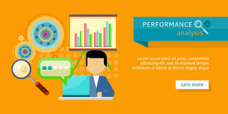 Performance Analysis Banner. Person Work at Laptop. Performance analysis banner. Person working at laptop, making financial planning or generating report Royalty Free Stock Photo