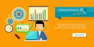 Performance Analysis Banner. Person Work at Laptop Royalty Free Stock Photo