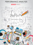 Performance Analysis concet with Doodle design style Stock Photo