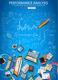 Performance Analysis concet with Doodle design style. Finding solution, brainstorming, creative thinking. Modern style illustration for web banners, brochure Stock Images
