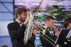 Performance artists, orchestra, ensemble of wind instruments kronwerk brass stock photography