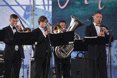Performance artists, orchestra, ensemble of wind instruments kronwerk brass Royalty Free Stock Photography