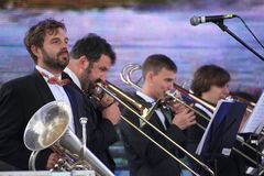 Performance artists, orchestra, ensemble of wind instruments kronwerk brass Royalty Free Stock Images