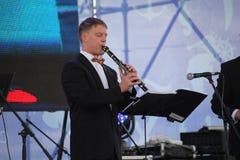 Performance artists, orchestra, ensemble of wind instruments kronwerk brass Stock Photos