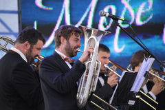 Performance artists, orchestra, ensemble of wind instruments kronwerk brass Royalty Free Stock Photo