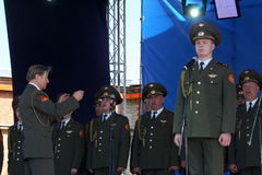 Performance artists, soldiers soloists and chorus of the song and dance ensemble of the north-western military district. Traditional open gala show ( exercise Stock Photo