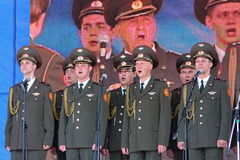 Performance artists, soldiers soloists and chorus of the song and dance ensemble of the north-western military district. Traditional open gala show ( exercise Royalty Free Stock Photography