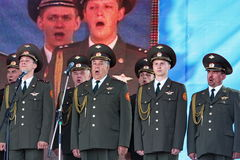 Performance artists, soldiers soloists and chorus of the song and dance ensemble of the north-western military district. Traditional open gala show ( exercise Stock Photography