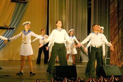Performance artists, soldiers soloists and dancers of song and dance ensemble of the north-western military district. Royalty Free Stock Photos