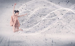 Performance ballet dancer jumping with energy explosion particle Royalty Free Stock Image
