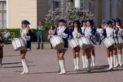 Performance beautiful actresses of the show orchestra group ensemble drummers of krasnogvardeisky district municipality Stock Photos
