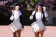 Performance beautiful actresses of the show orchestra group ensemble drummers of krasnogvardeisky district municipality Royalty Free Stock Photos