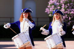 Performance beautiful actresses of the show orchestra group ensemble drummers of krasnogvardeisky district municipality Royalty Free Stock Photo