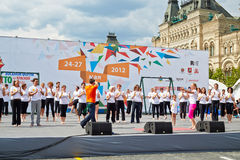Performance of Bikram Yoga Studio. MOSCOW - MAY 27: Performance of Bikram Yoga Studio led by O.Shurygina on Red Square during 8-th sports forum GTO, May 27, 2012 Royalty Free Stock Photo
