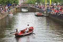 Show in canal boat at yearly Street Festival,Leeuwarden, Netherlands Royalty Free Stock Images