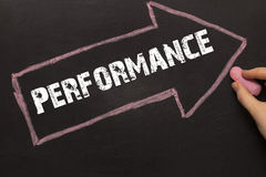 Performance - Chalkboard with arrow on black Royalty Free Stock Image