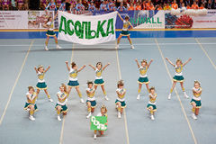 Performance of cheerleaders team Asolka Royalty Free Stock Photography