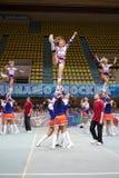 Performance of cheerleaders team Royalty Free Stock Images