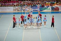 Performance of cheerleaders team Sharks Stock Photography