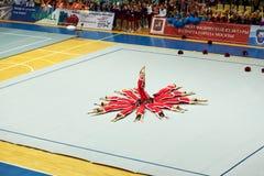 Performance of children cheerleaders team Royalty Free Stock Image