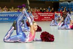 Performance of children cheerleaders team Stock Photo